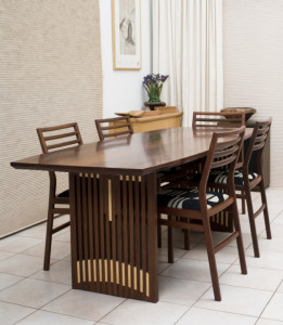 1.Dining table in River Red Gum with Jarrah chairs